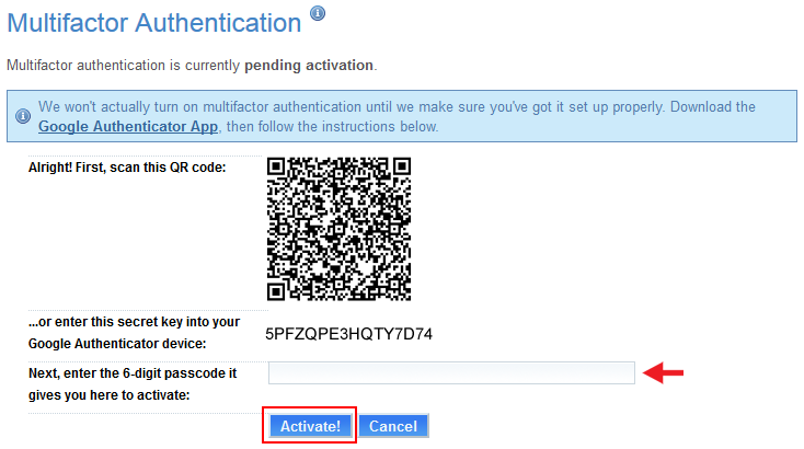 How to use the Google Authenticator app with Multifactor