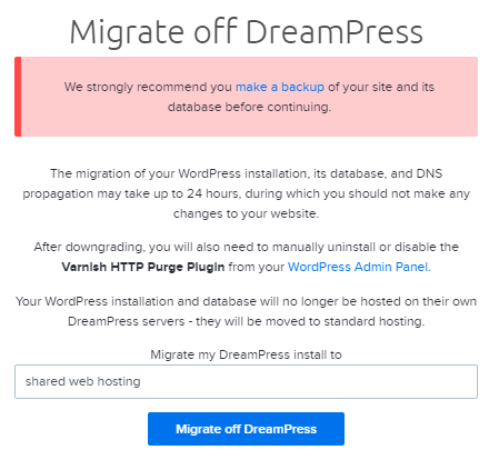 DreamPress downgrade
