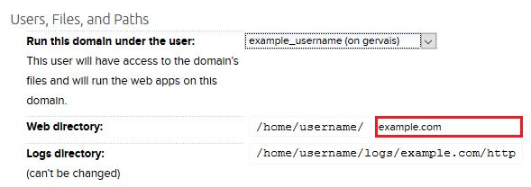Panel domains redirect