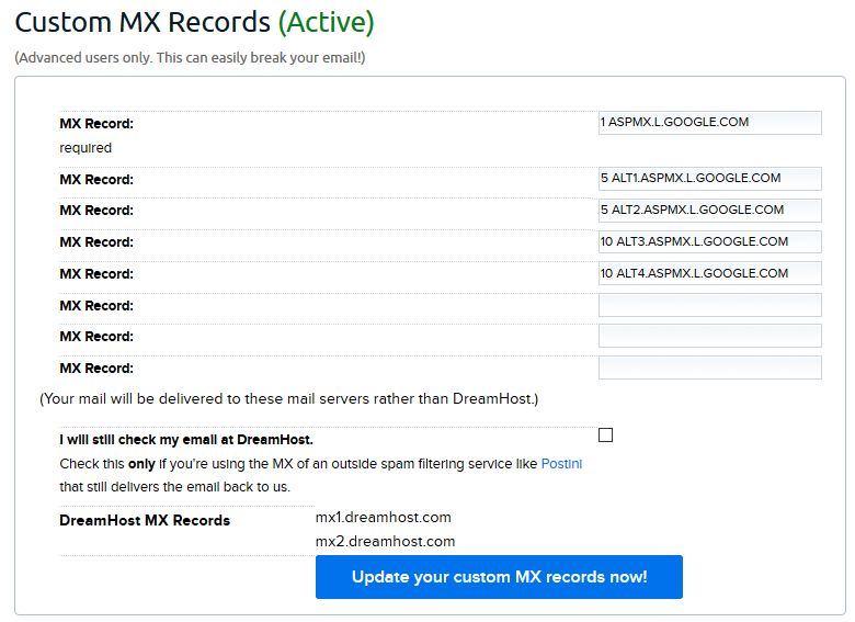 Google MX records