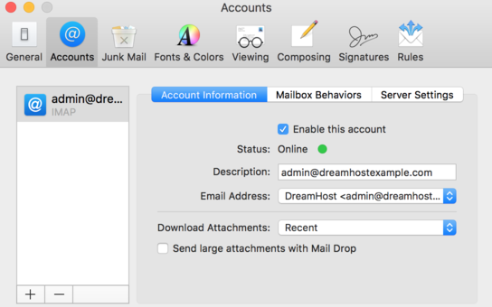 MacMail — How to make changes to an existing Mail account