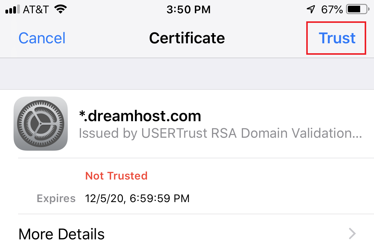 iPhone certificate trusting