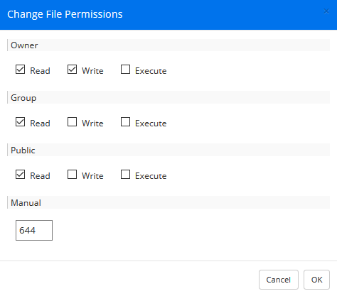 webftp changing permissions