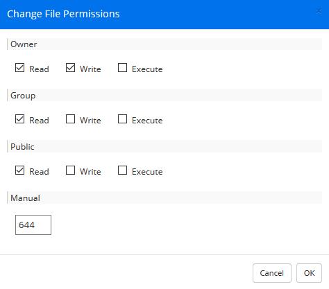 webftp changing permissions