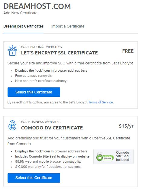 Adding An Ssl Certificate Overview Dreamhost