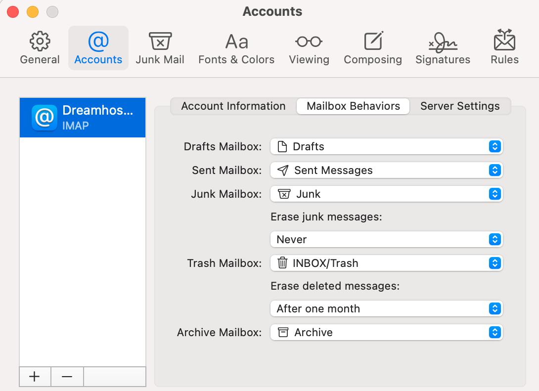 Mac Mail accounts tab