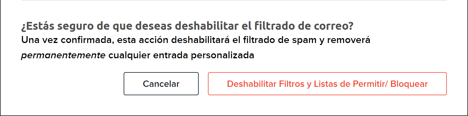 delete domain spam filters