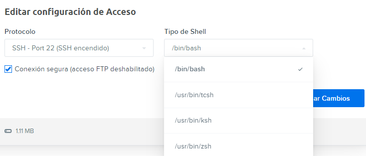 manage users select ssh