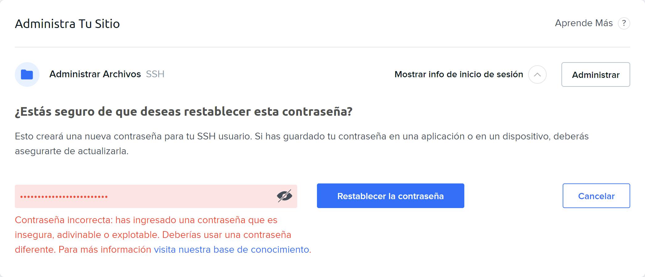 Compromised Password Error