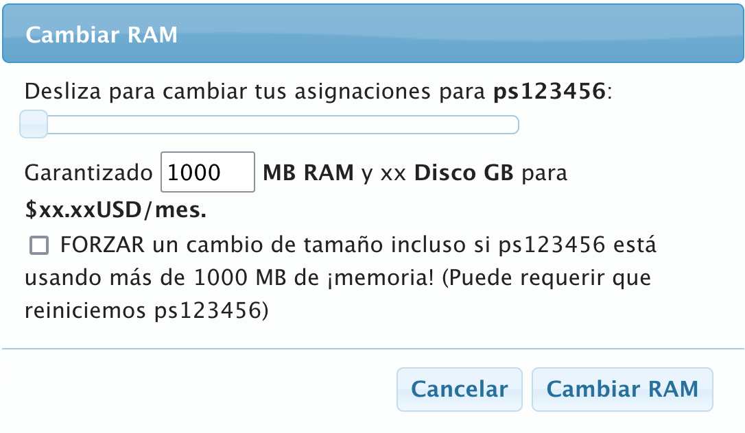 VPS change RAM