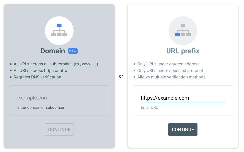 Google console add domain
