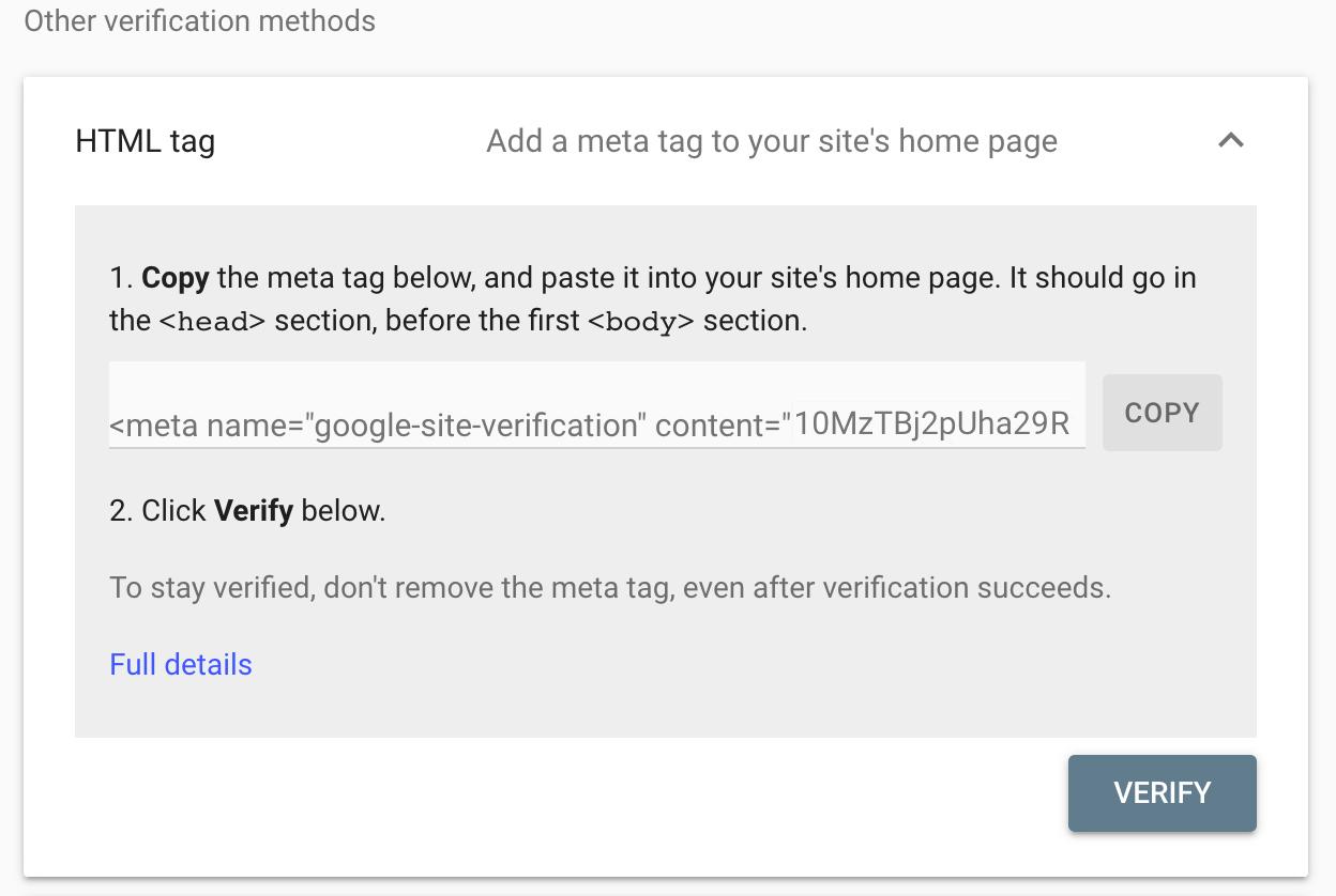 Google console verify domain
