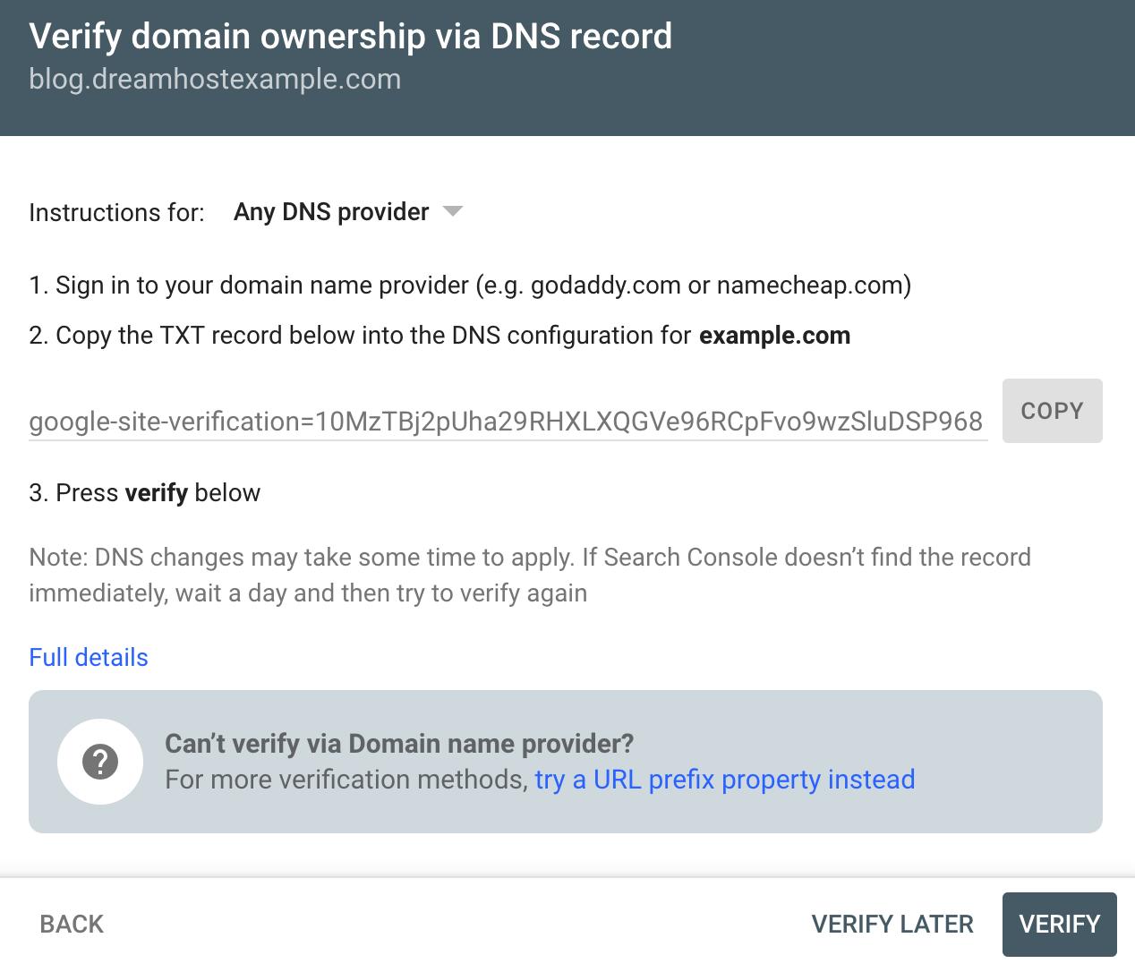 Google console txt record