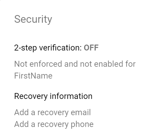 recovery info