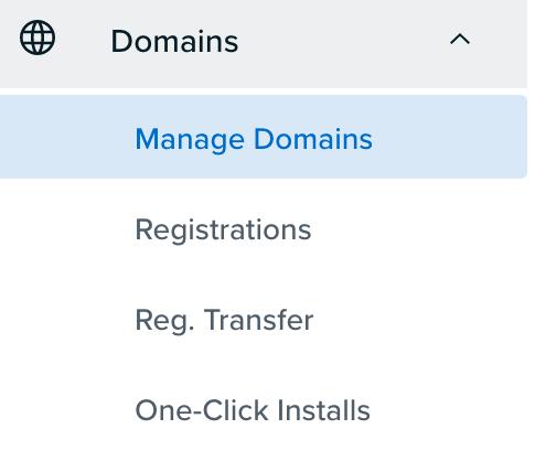 Domains menu