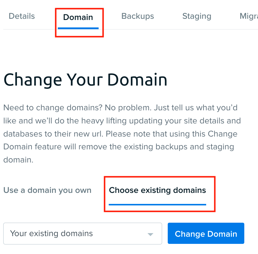 DreamPress change existing domain