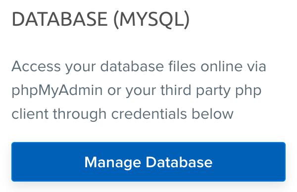 DreamPress database credentials