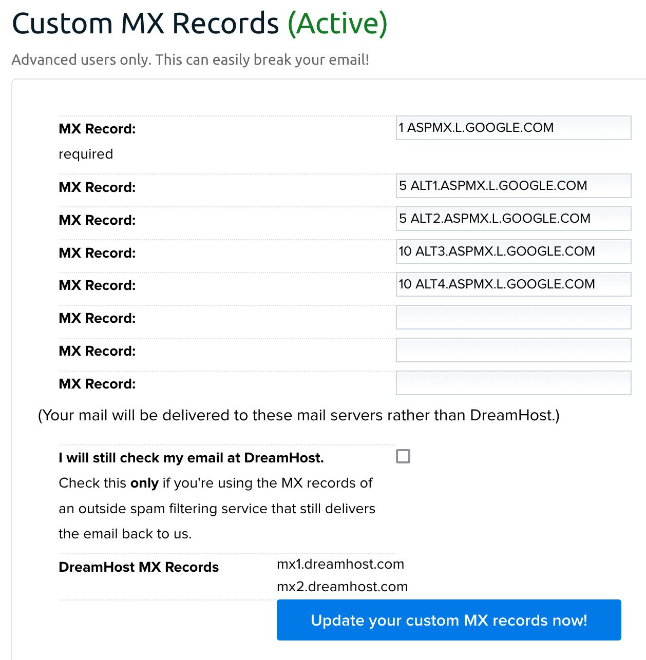 Google MX records