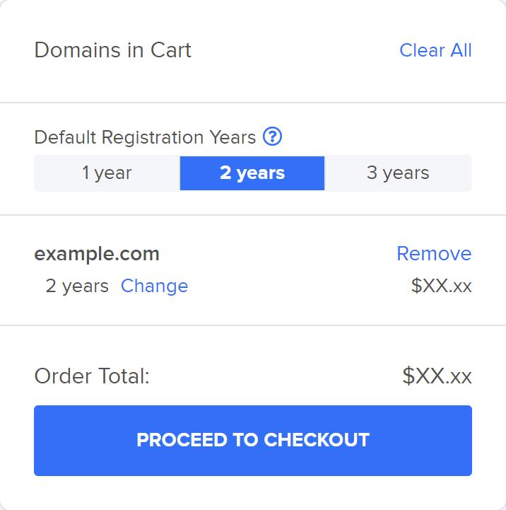 Domain registration cart