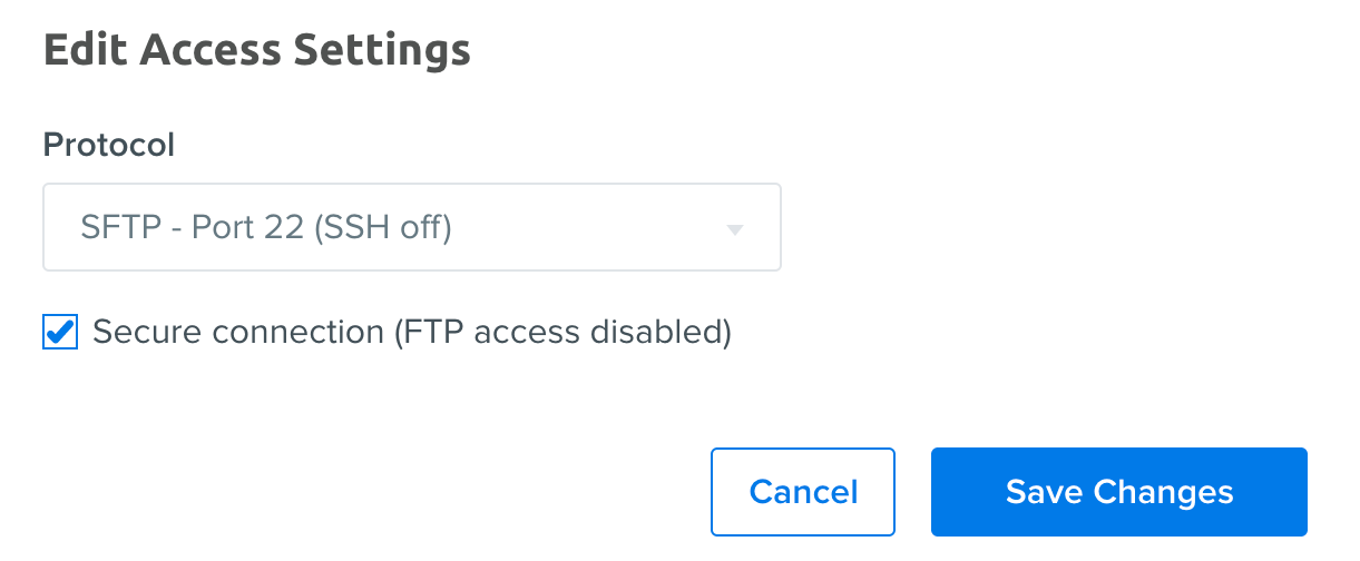 Set user to SFTP