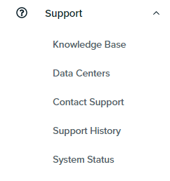 panel support menu link