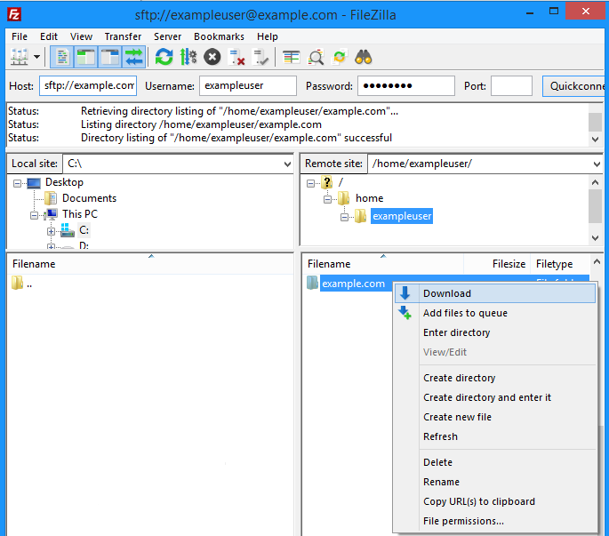 Filezilla_download_from_server