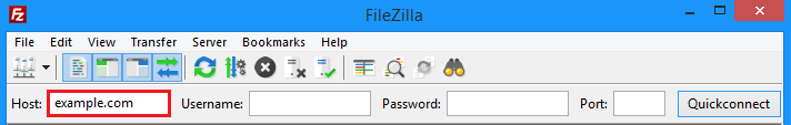 Filezilla hostname