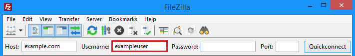 Filezilla username