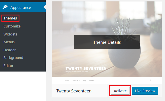 WP_activate_theme