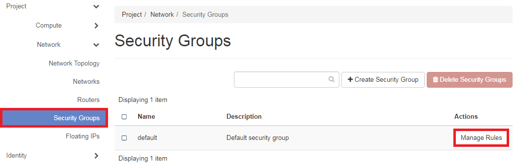 Configuring security groups – DreamHost