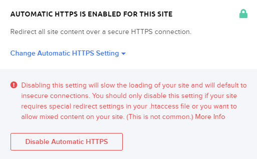 disabling the https redirect