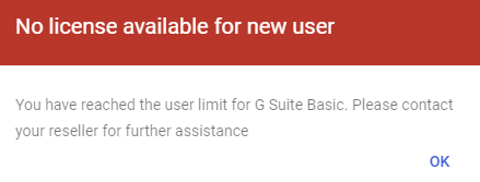 g suite no license