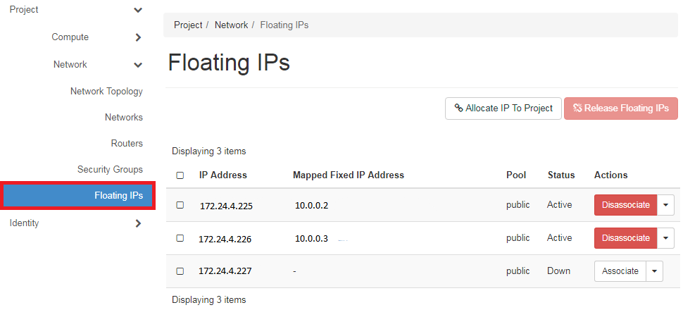 Managing floating IP addresses using the DreamCompute