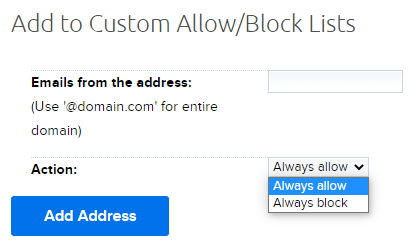 creating an allow or block list entry