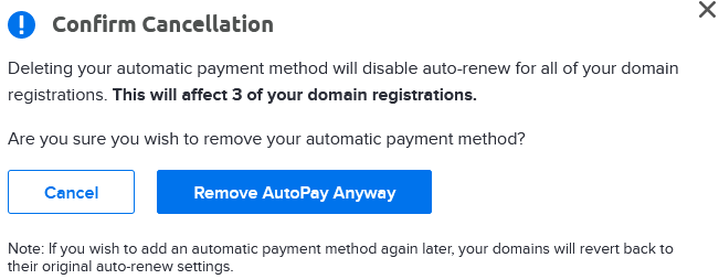 remove autopay confirmation