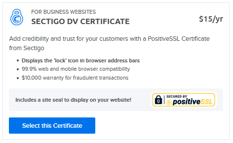 Paid Sectigo SSL cert