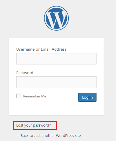 lost wordpress password