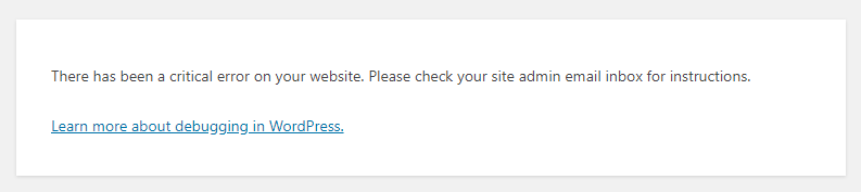 wordpress wsod message